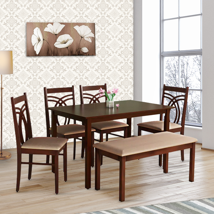 Stella Solid Wood Six Seater Dining Set in Dark Walnut Colour by HomeTown