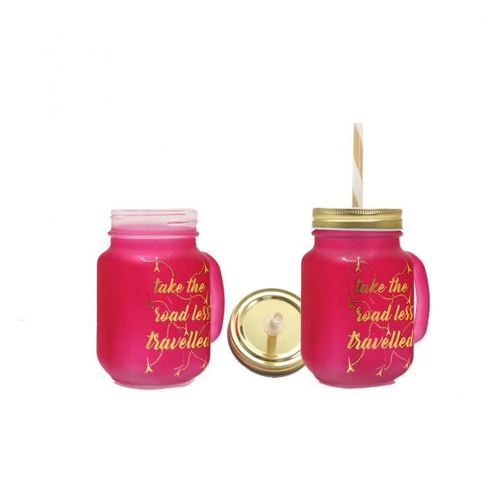 Love To Travel Golden Masonjars Set Of 2 T & P Glass Mason Jars in Orange,Pink & Gold Colour by HomeTown