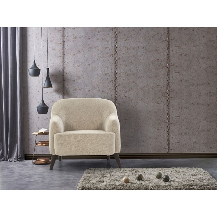 Brooke Solid Wood Single Seater Sofa in Beige Colour