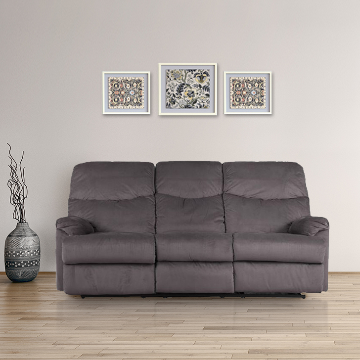 Daniel Fabric Three Seater Recliner in Mocha Colour by HomeTown
