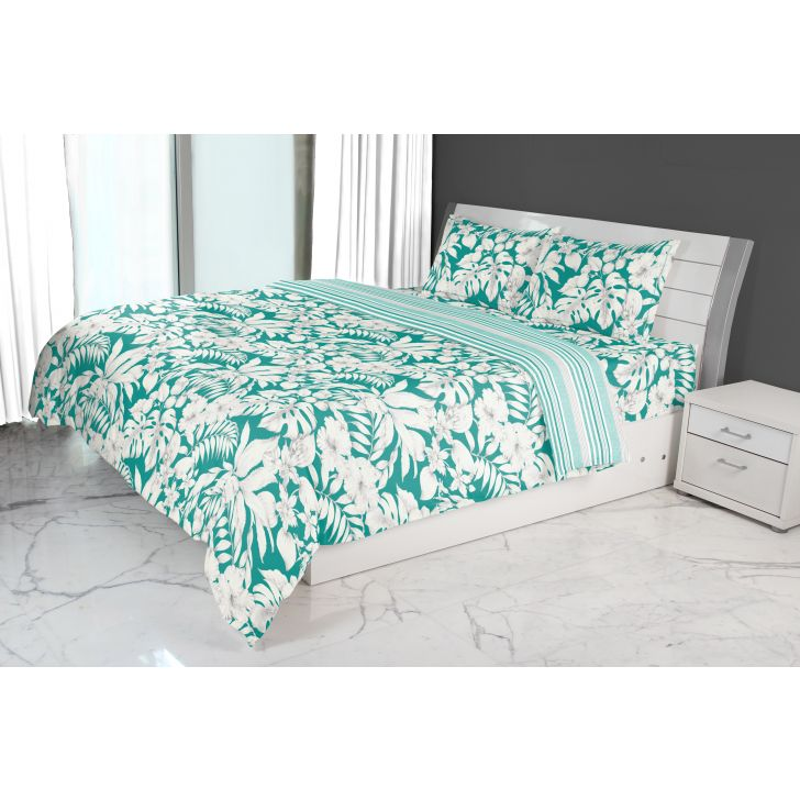 Emilia Double Comforter Teal Cotton Comforters in Teal Colour by Living Essence