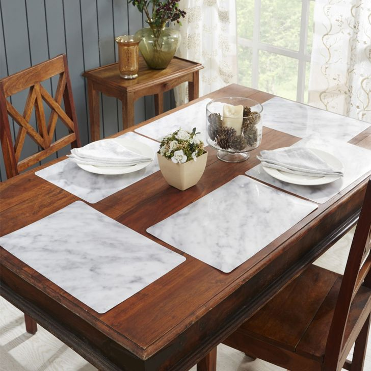 Idyll Artificial Leather Table Mat  30X45 Cm in Grey Colour by Obsessions