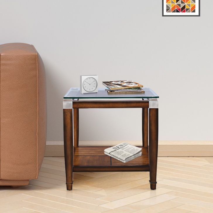 Franklin Solid Wood Glass Top Side Table in Brown Colour by HomeTown