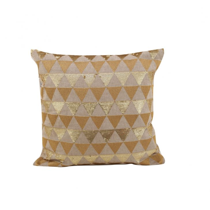 Devon Beige Gold Cotton Cushion Covers in Beige Gold Colour by Living Essence