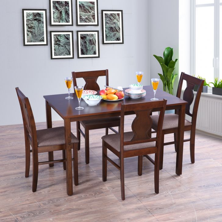 Artois Solid Wood Four Seater Dining Set in Antique Cherry Colour by HomeTown