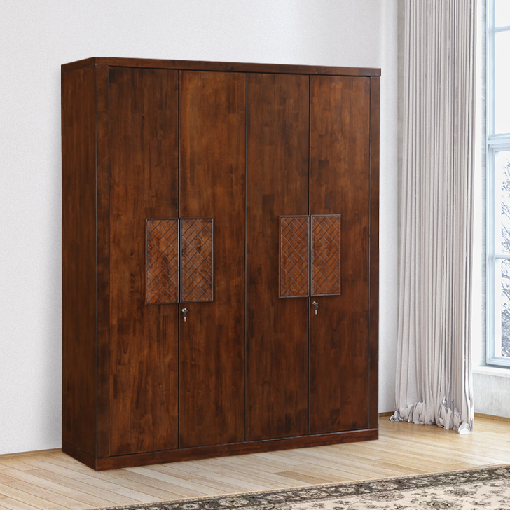 Atlas Solid Wood Four Door Wardrobe in Walnut Colour by HomeTown