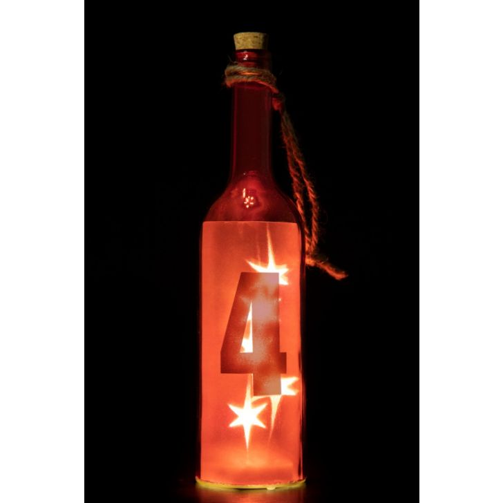 VENUS STAR NUM BTTL 4-RED Glass Accent Lighting in Red Colour by Living Essence