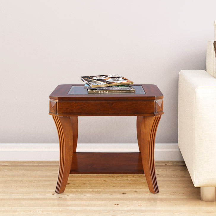 Daffny Glass Glass Top Side Table in Brown Colour by HomeTown