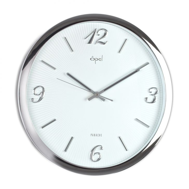 Opal White Clock With Chrome Plated Frame