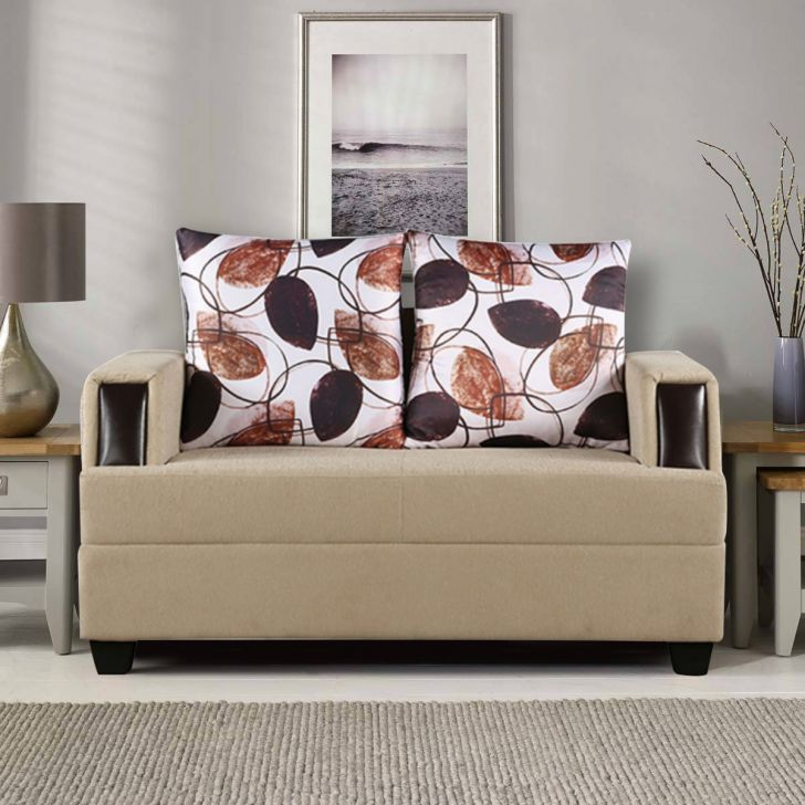 Elanza Fabric Two Seater sofa in Beige Color by HomeTown