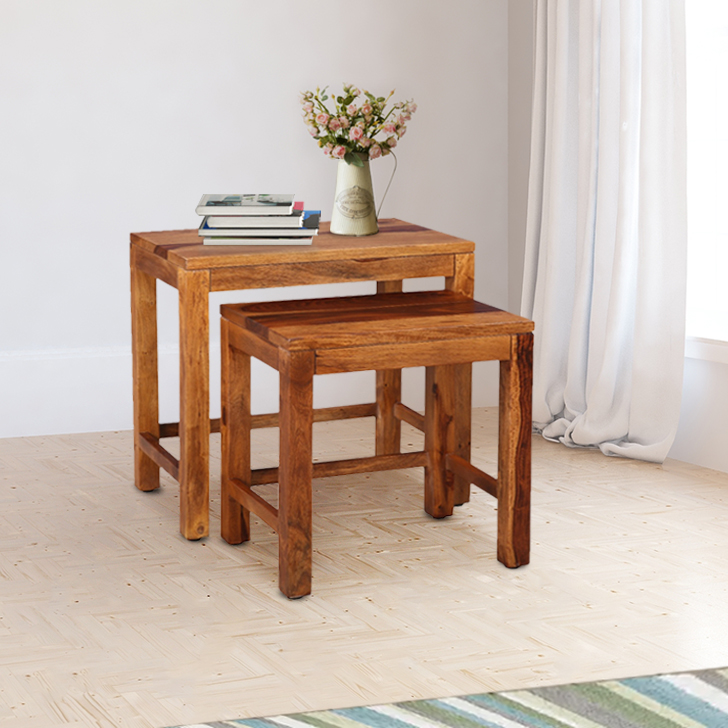 Kepler Sheesham Wood(Rosewood) Nesting Table in Honey Colour by HomeTown