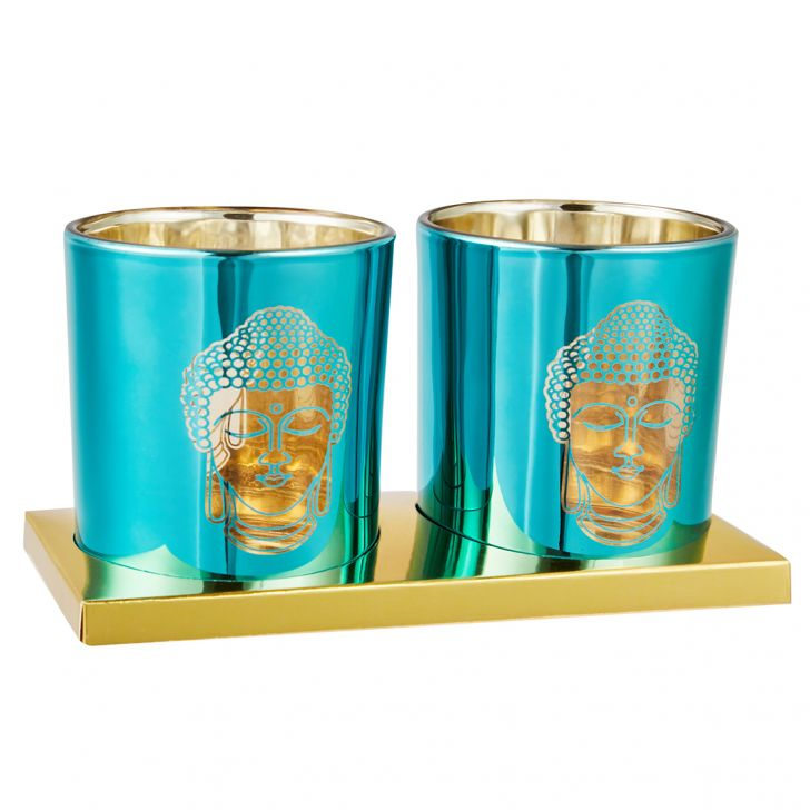 Zahara Set Of Two Etched Buddha Face Metal Candle Holders in Blue Colour by Living Essence