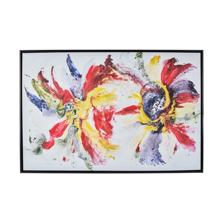 Craig Swirl Flower Black Framed Painting Canvas Paintings in Multicolor Colour by Living Essence