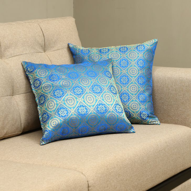 Carnival Brocade Set Of 2 Cushion Covers in Blue Colour