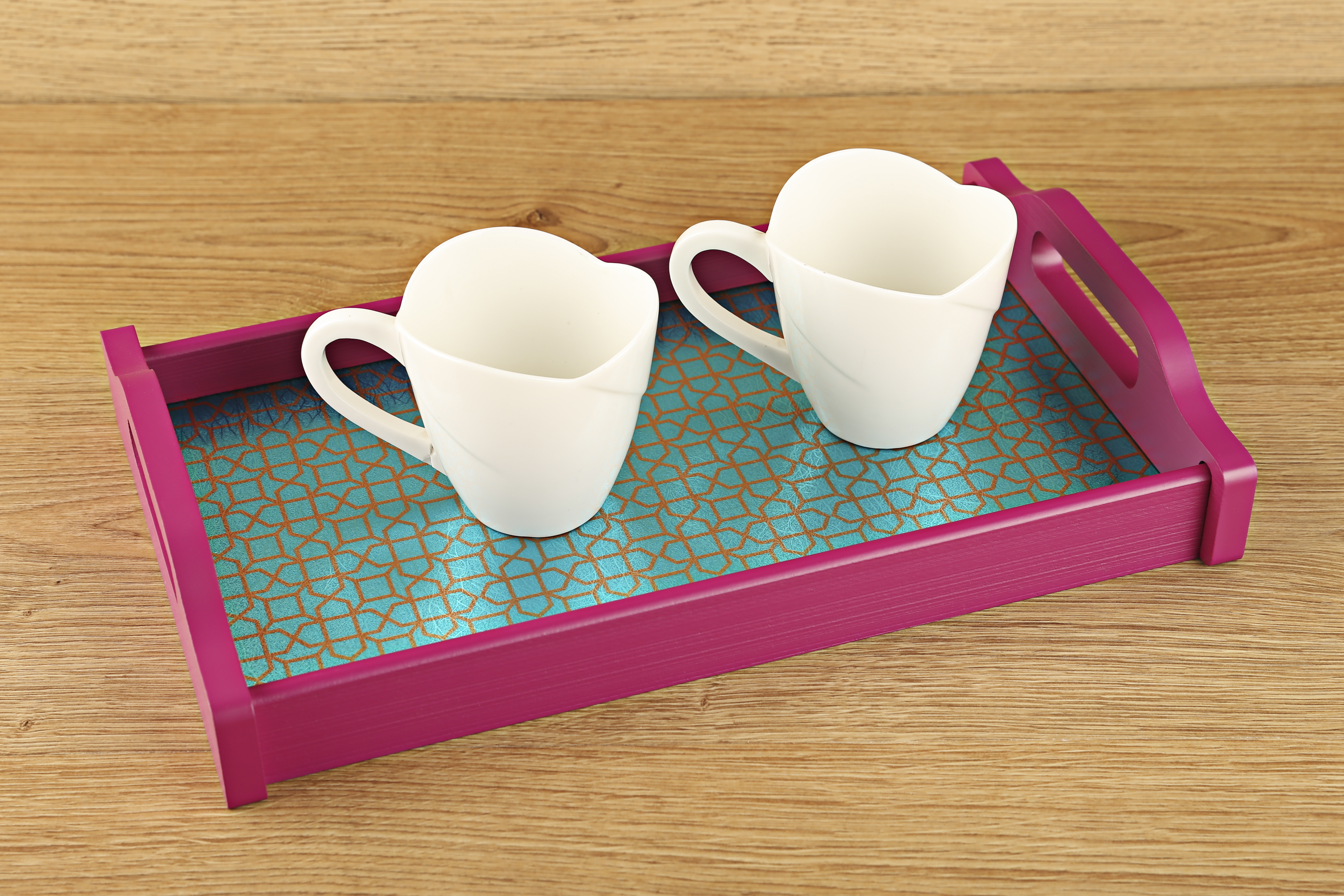 LE Elephant & Horses Small Tray Timber Wood Trays in Teal And Pink Colour by Living Essence