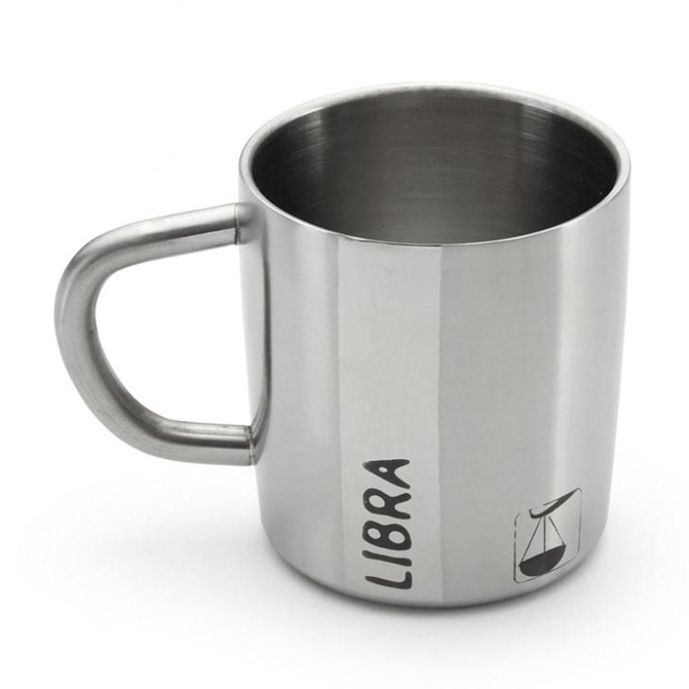 Hot Muggs Libra-Starsign Stainless Double Mug 200 ml, Stainless steel Coffee Mugs in Silver Colour by HotMuggs