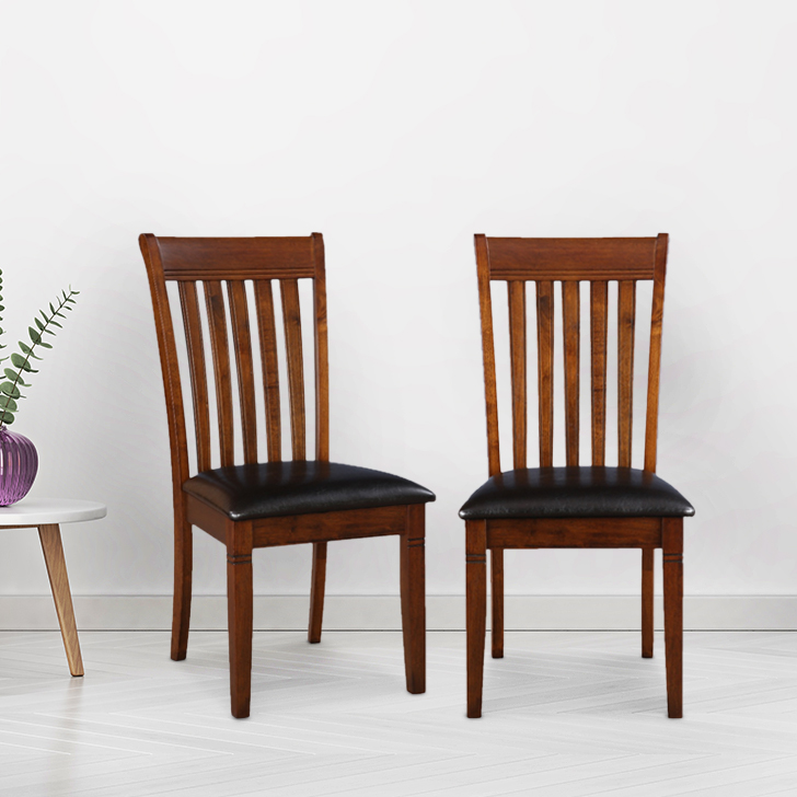 Loretto Solid Wood Dining Chair Set of Two in Walnut Colour by HomeTown