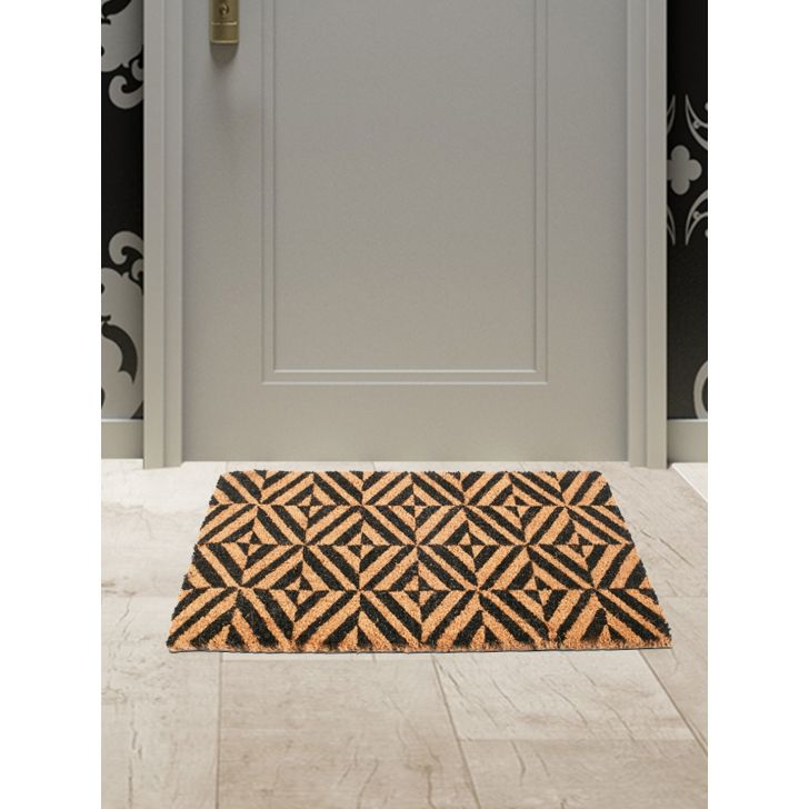 Natura Diamond Polyester Door Mats in Black Colour by Living Essence