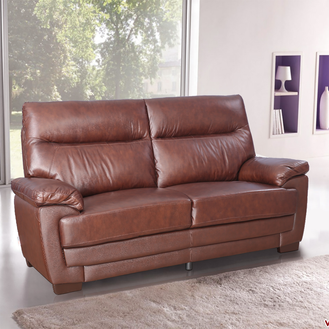 Jefferson Half Leather Three Seater Sofa in Brown Colour by HomeTown