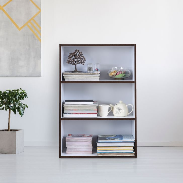 Mezzola Engineered Wood 3 Tier Bookshelf in Wenge & White Colour by HomeTown