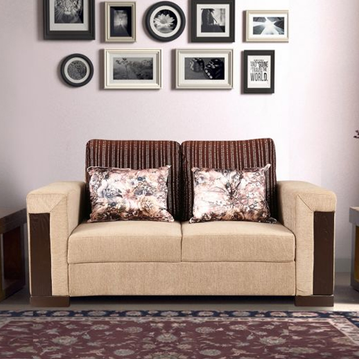 Amazon Royale Fabric Two Seater sofa in Beige Colour by HomeTown