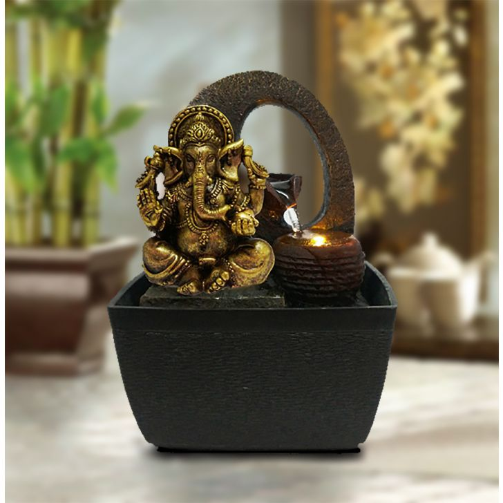 Hometown Polyresin And Plastic Sitting Ganesha Water Fountain Gold And Brown Polyresin Small Fountains in Gold And Brown Colour by HomeTown