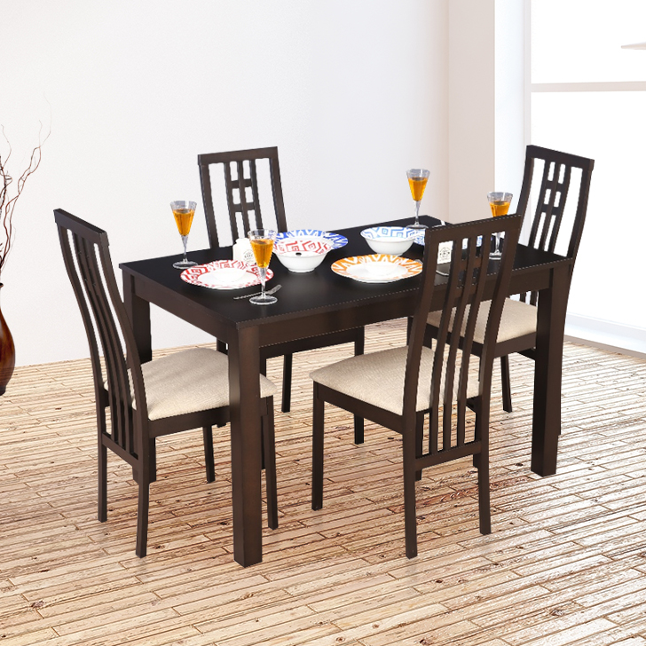 Ronald Solid Wood Four Seater Dining Set in cappuccino Colour by HomeTown