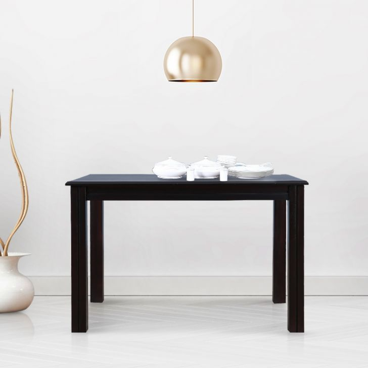 Hexa Solid Wood Four Seater Dining Table in Walnut Colour by HomeTown
