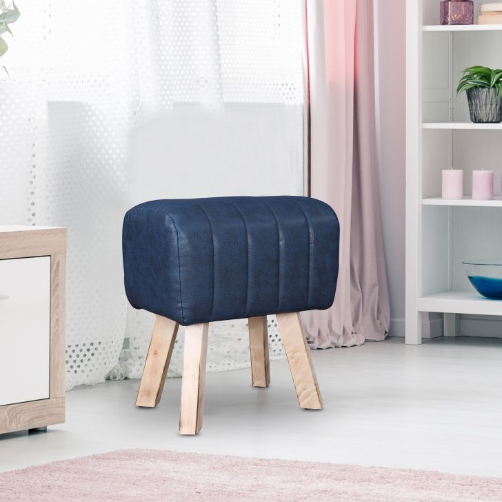 Horseback Fabric Ottoman in Blue Colour by HomeTown