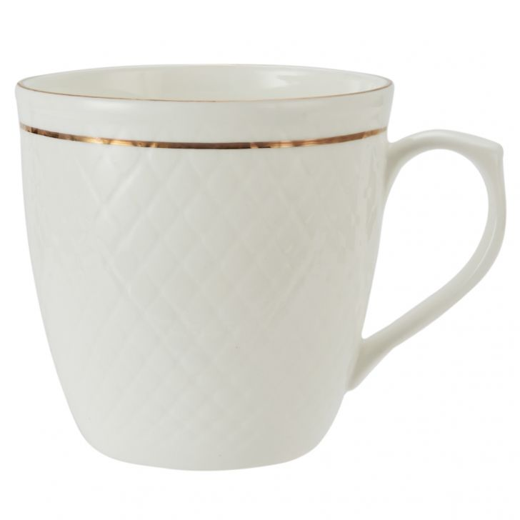 White Goldling Mug Twinkle 110Ml 6 Pcs Ceramic Coffee Mugs in White Colour by Living Essence