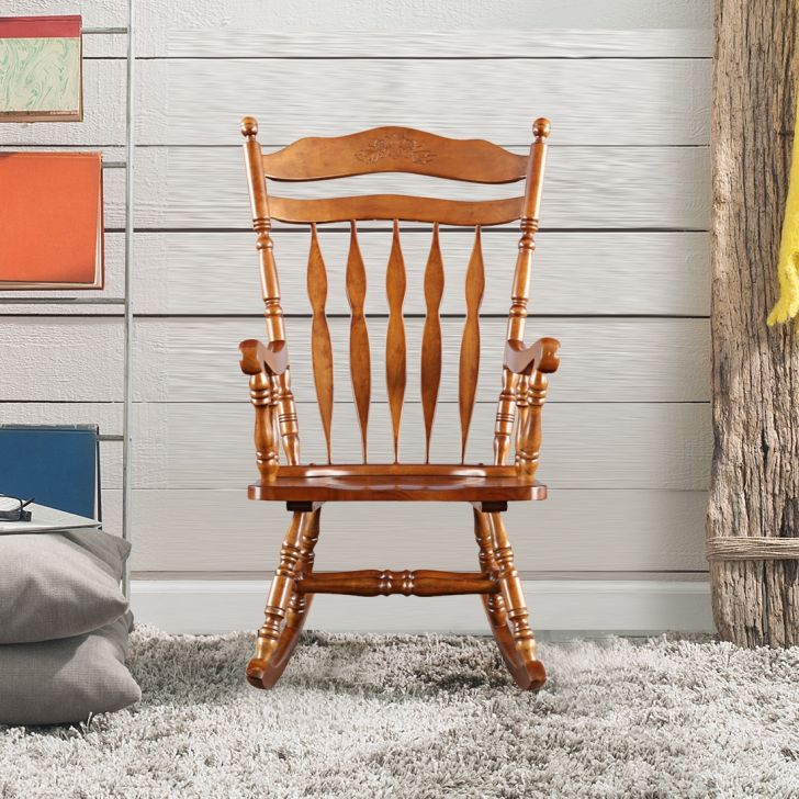 Darwin Solid Wood Rocking Chair in Walnut Colour by HomeTown