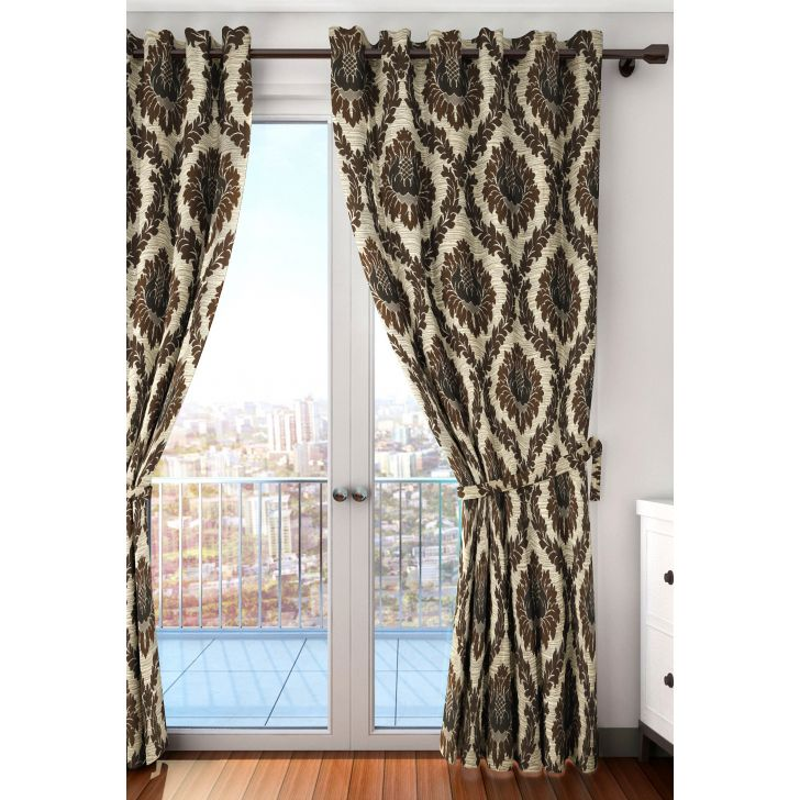 Splendor Blackout Window Curtain 107X152 CM in Brown Colour by Houzzcode