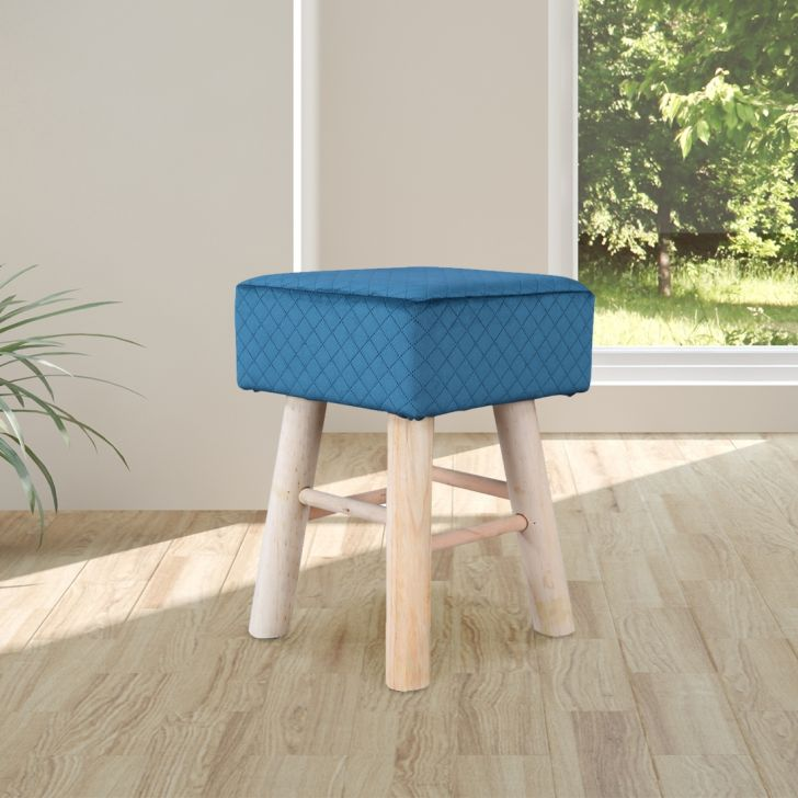 Ella Solid Wood Ottoman in Teal Colour by HomeTown