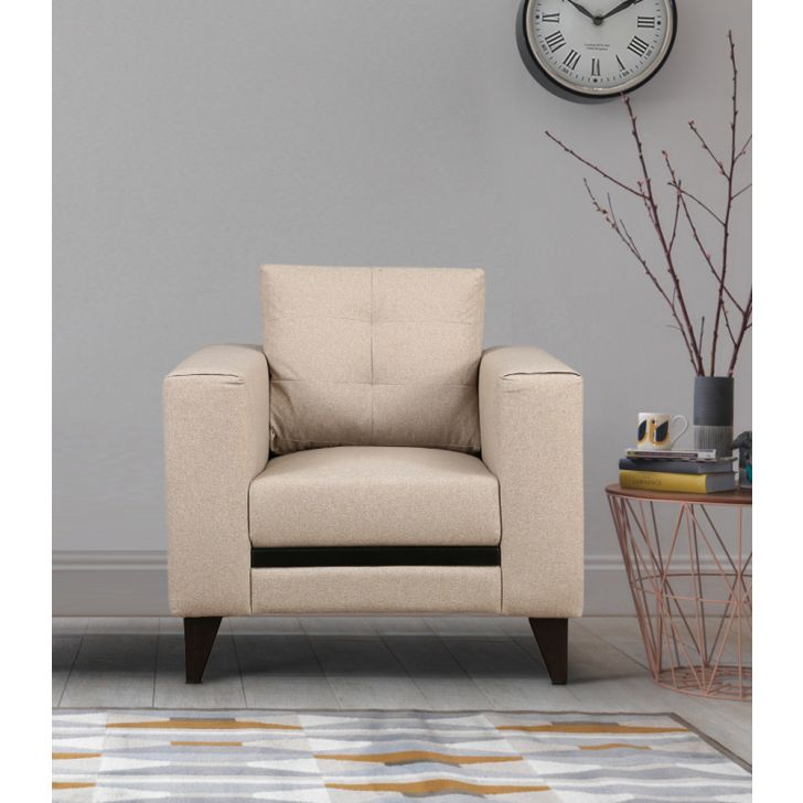 Garcia Fabric Single Seater sofa in Beige Color by HomeTown
