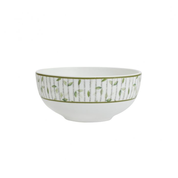 Petite Petals Vegetable Bowl Ceramic Katori in White And Green Colour by Living Essence
