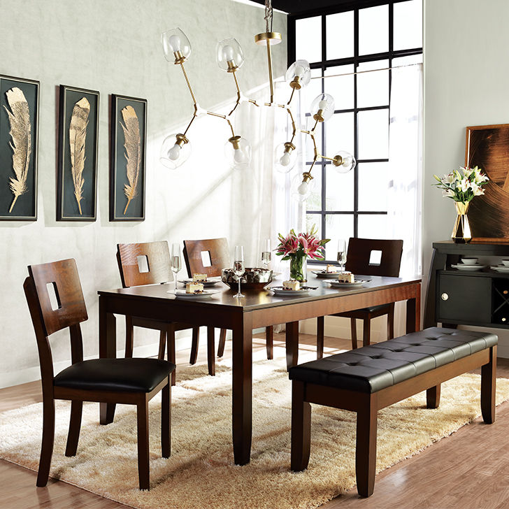 Lobito Rubber Wood Six Seater Dining Set in Walnut Colour by HomeTown
