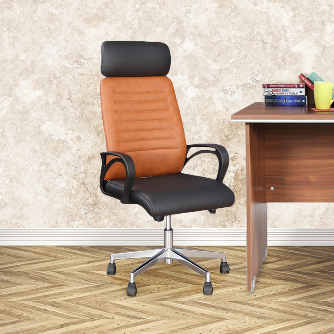 Xylo Half Leather High Back Office Chair in Dual Tone Colour by HomeTown