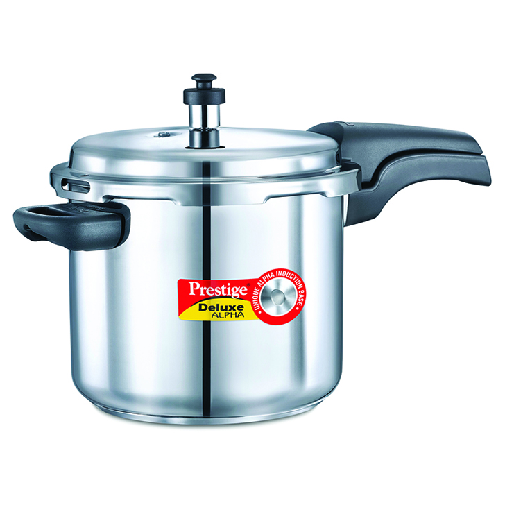 Prestige Deluxe Alpha Stainless Steel Pressure Cooker 5500 ml Stainless steel Cookers in Silver Colour by Prestige
