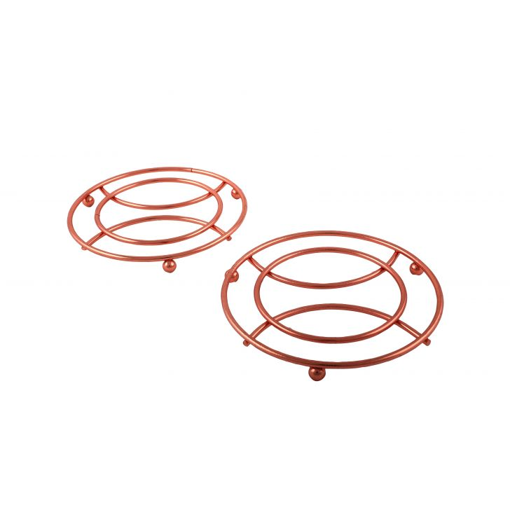 Trivet Set Of 2 Copper Chromeware in Rose Gold Colour by Living Essence