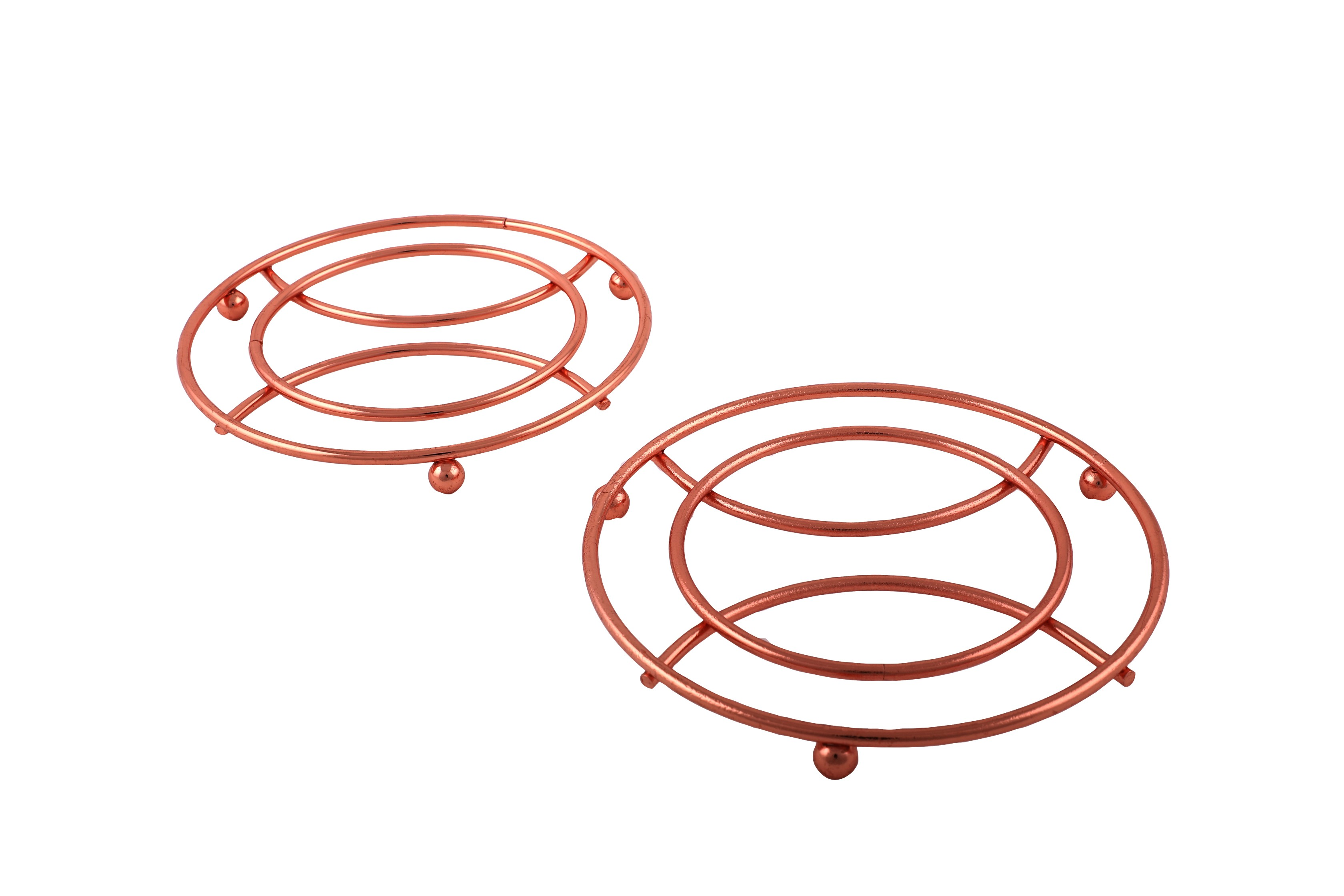 Living Essence Trivet Set Of 2 Copper Chromeware in Rose Gold Colour by HomeTown