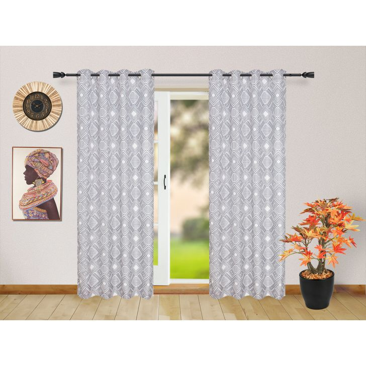 Set of 2 Polyester Door Curtains in White Colour by Living Essence