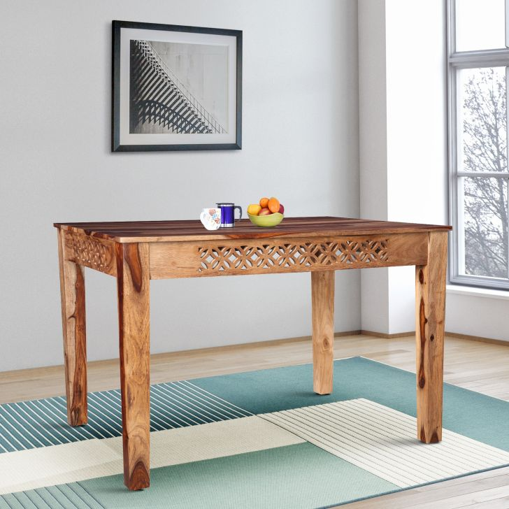 Floris Solidwood Four Seater Rectangle Dining Table in Teak Colour by HomeTown