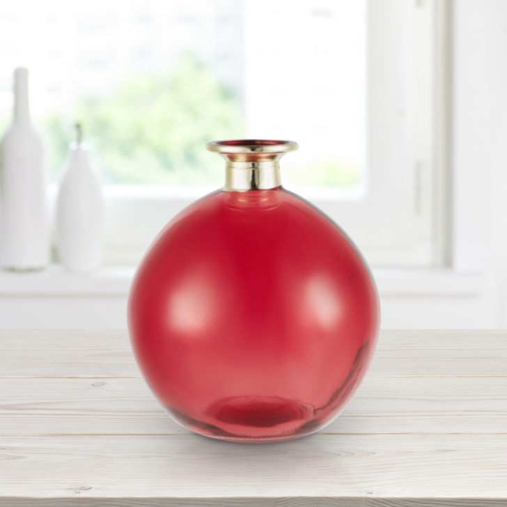 Marvela Oval Glass 14 cm Glass Vase in Red Colour by Living Essence