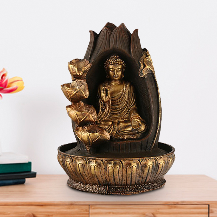 Impression Buddha Petals Polyresin Small Fountains in Brown/Gold Colour by Living Essence