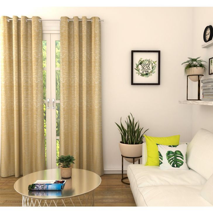 Amour Solid Set of 2 Door Curtain in Mustard Colour