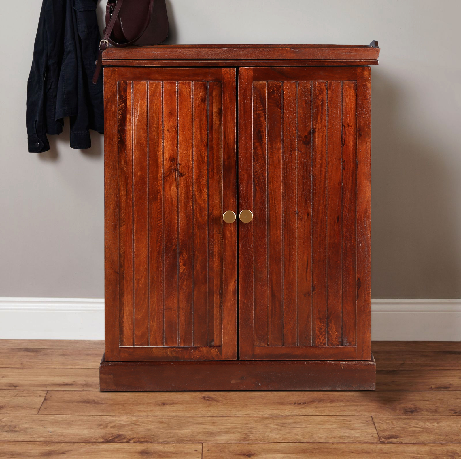Syrah Solid Wood Serving Trolley in Chest Nut Brown Colour by HomeTown
