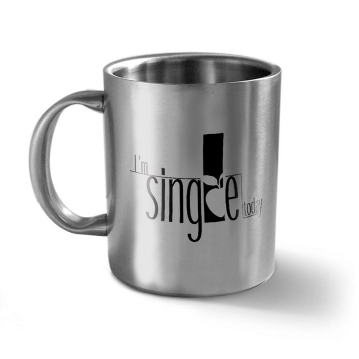 Hot Muggs I'm Single Stainless Double Walled Mug Stainless steel Coffee Mugs in Silver Colour by HotMuggs
