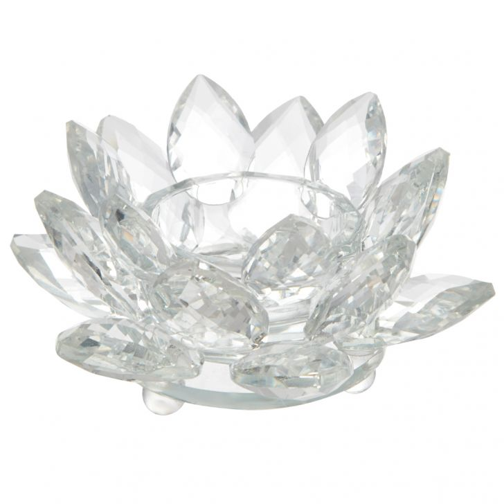 Chinar Crystal Flower Glass Candle Holders in Transparent Colour by Living Essence