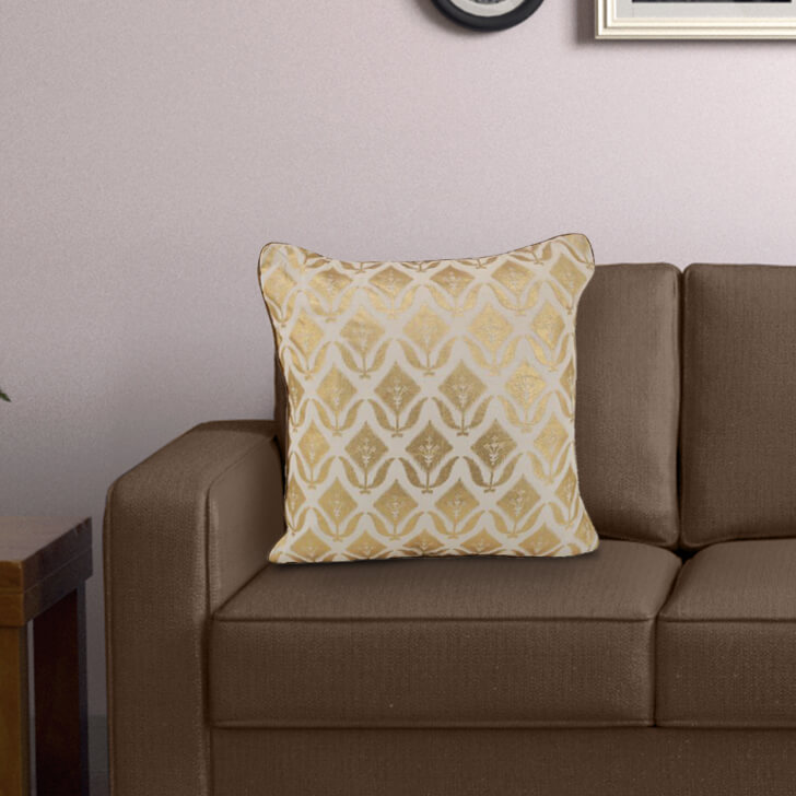 Desmond Off White Velvet Cushion Covers in Off White Colour by Living Essence