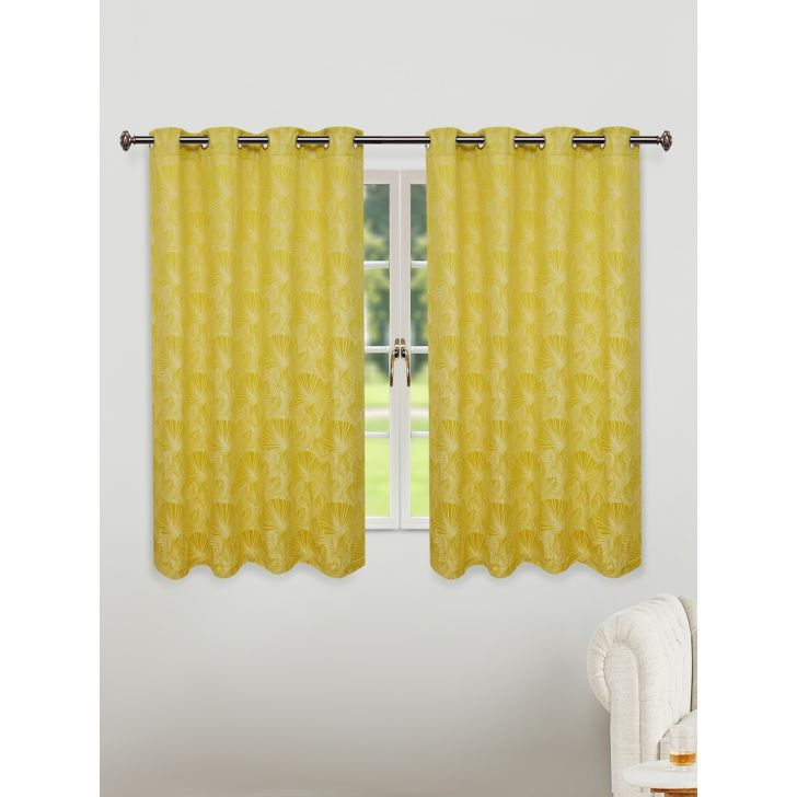 Fiesta Jacquard Set of 2 Cotton Window Curtains in Citron Colour by Living Essence